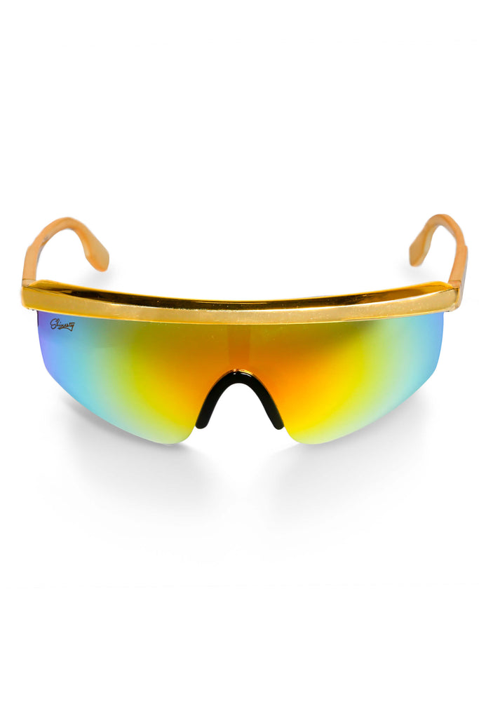The Gold Agassi Blade 90s Mirrored Sunglasses