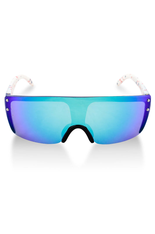 purple and white retro style sunglasses