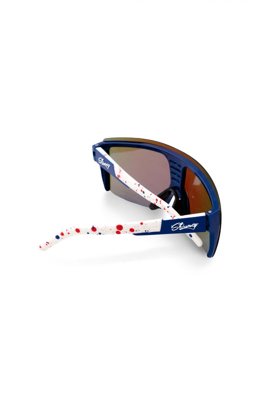 white paint splatter sunglasses frame