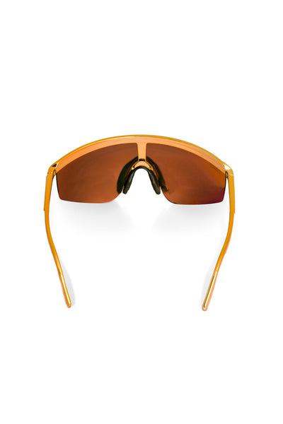 74ee14c06272b The Gold Agassi Blade 90s Mirrored Sunglasses. back of gold 90s style  sunnies