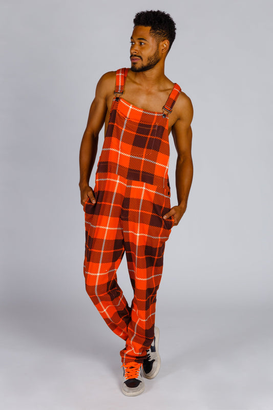 Orange plaid pajamaralls for men