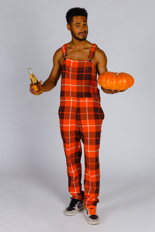 Mens orange plaid thanksgiving pajamaralls