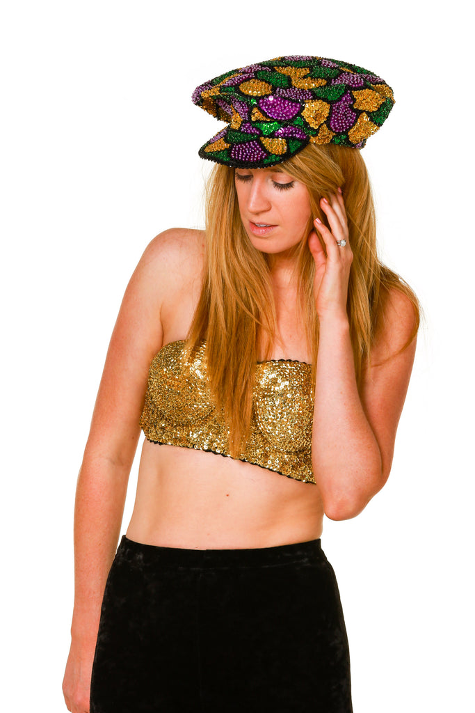 Gold On The Girls Sequin Bra Bustier