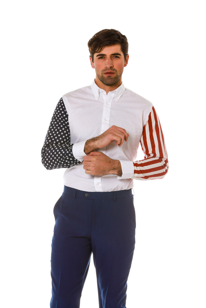 Cuffed Hands Stars and Stripes Sleeve Dress Shirt