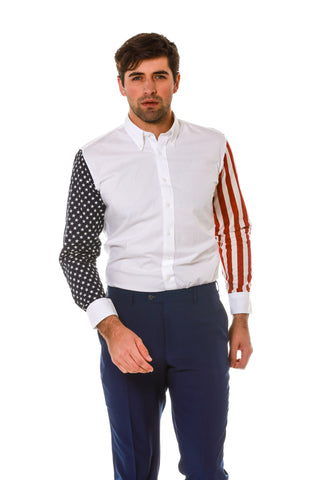 Stars and Stripes Sleeve Dress Shirt