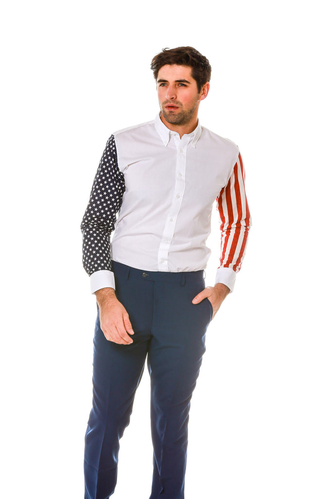 Front of Stars and Stripes Sleeve Dress Shirt