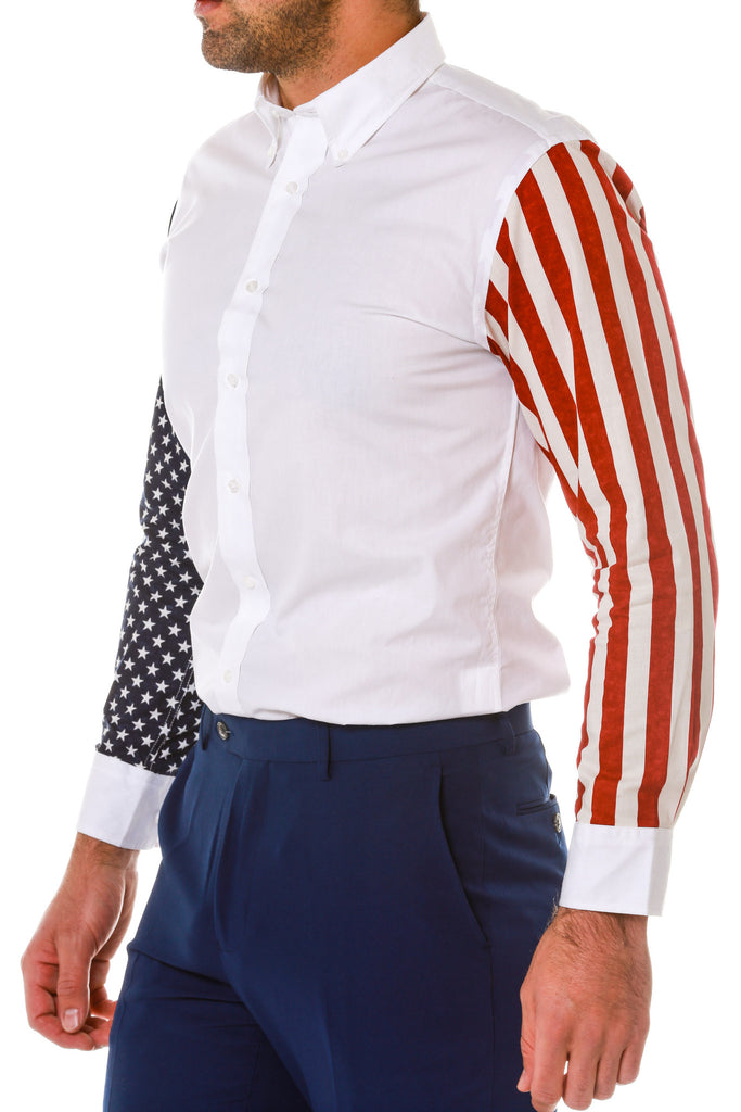 Side of Stars and Stripes Sleeve Dress Shirt