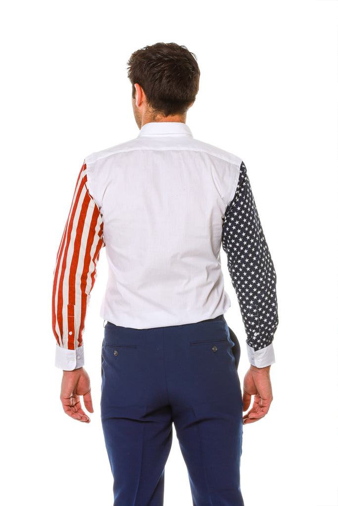 Back of Stars and Stripes Sleeve Dress Shirt