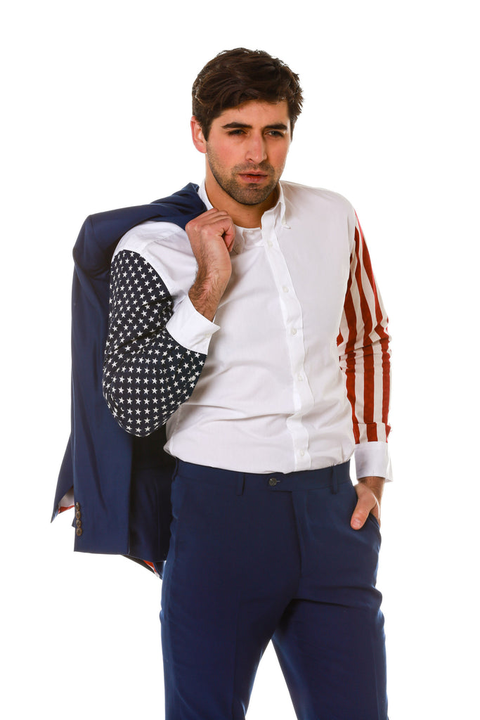 Stars and Stripes Sleeve Dress Shirt with Prop Jacket