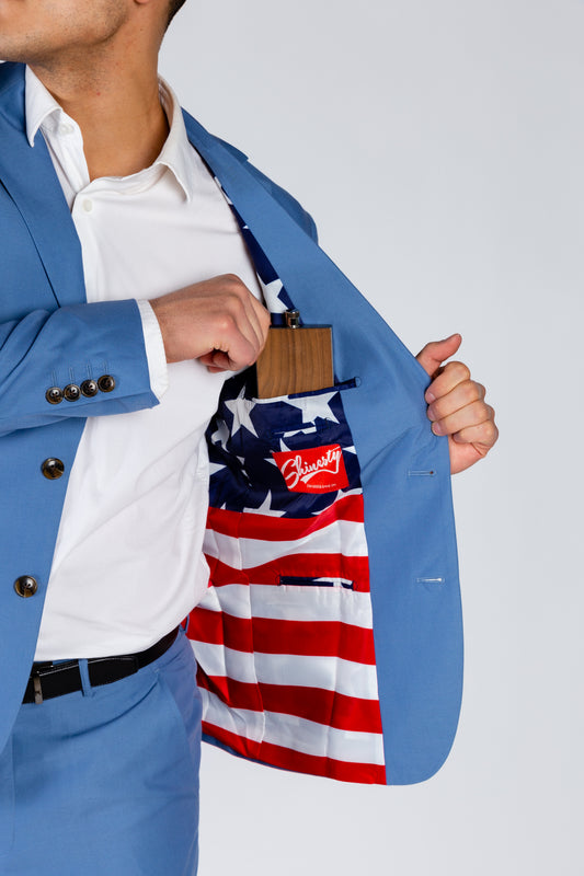 Solid Blue America Lined Business Suit