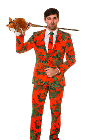 Man Wearing Green And Red Hawaiian Suit