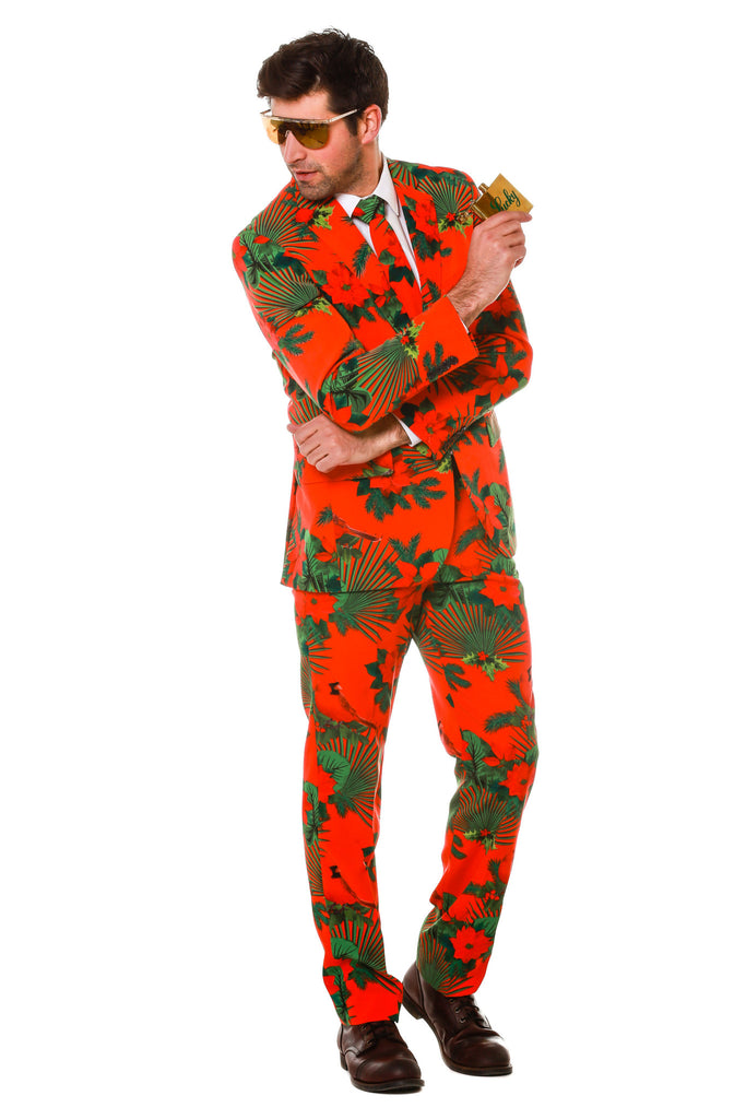 Man Wearing The Mele Kalikimaka Suit In Red and Green