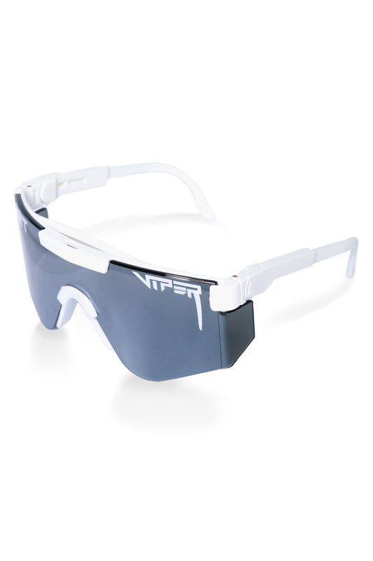White mirrored pit viper sunglasses for men