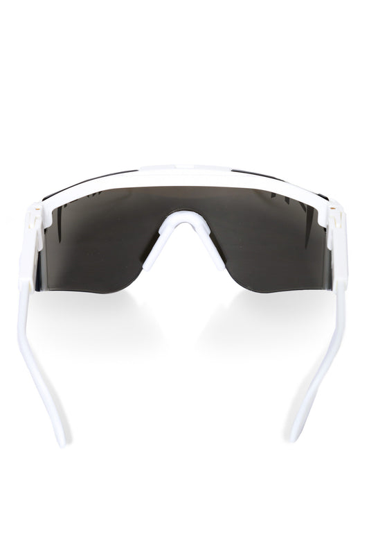 Men's mirrored white pit viper sunglasses