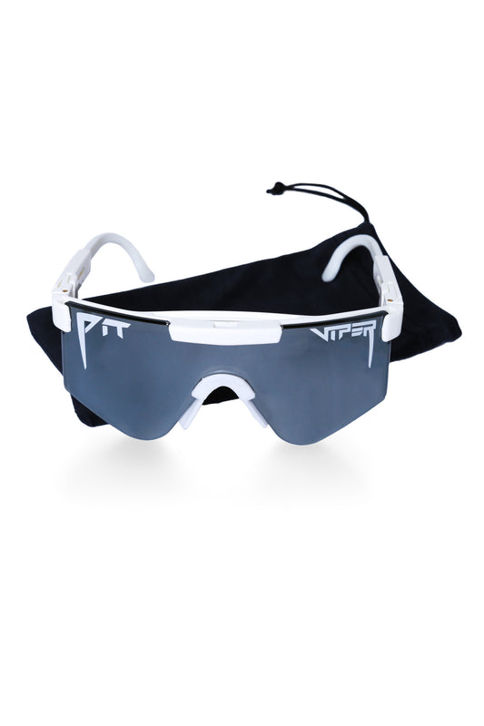 Men's white mirror pit viper sunglasses