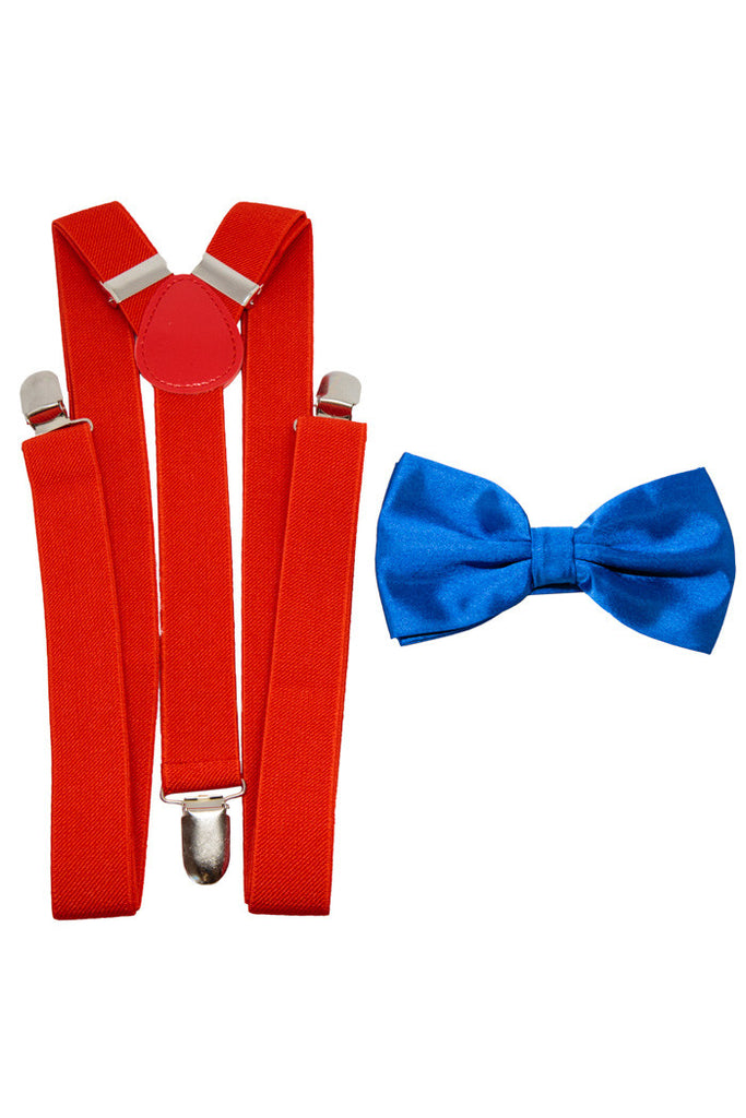 Patriotic Yet Festive | Blue Bow Tie And Red Suspender Combo