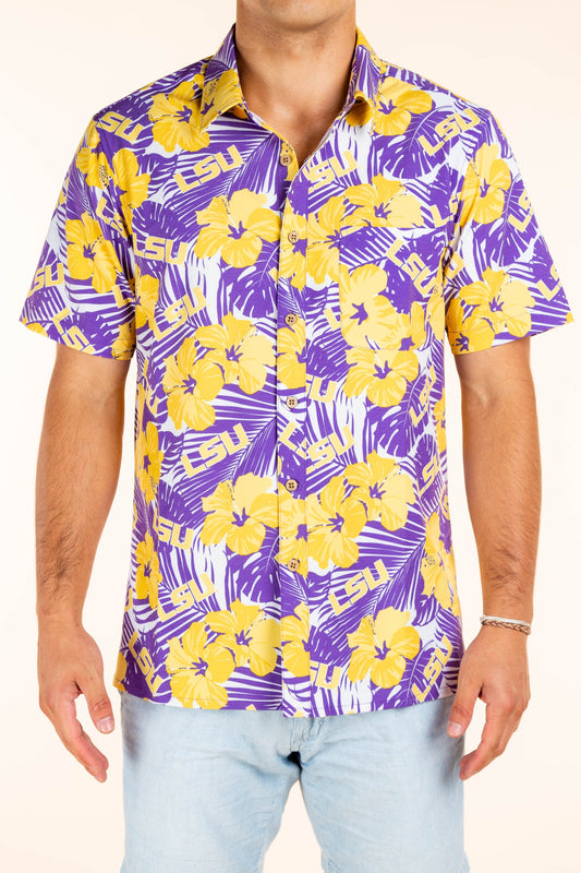LSU button up party shirt