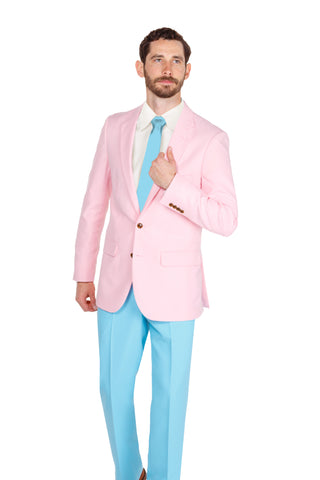 Men's Pastel Pink and Pastel Blue Party Suit and Tie