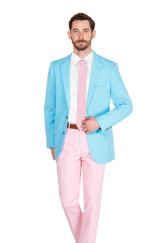 Blue and pink derby suit for men