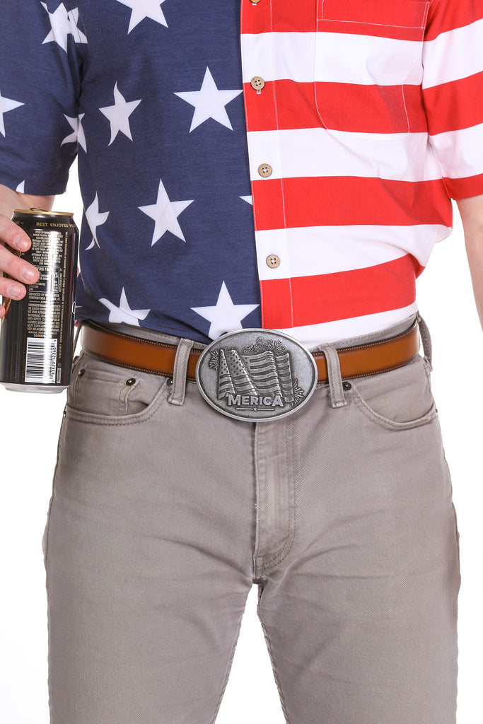 The American Flag Belt Buckle Beer Bearer BevBuckle