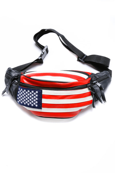 American Flag Leather Fanny Pack
