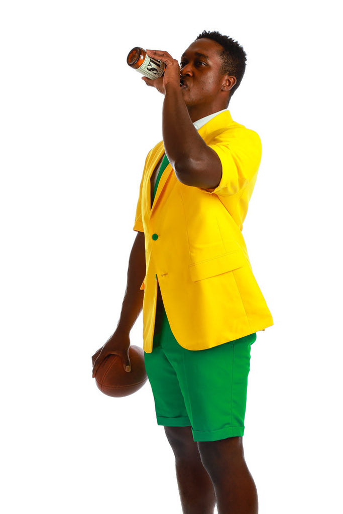 Yellow Short Sleeve Blazer With Green Shorts