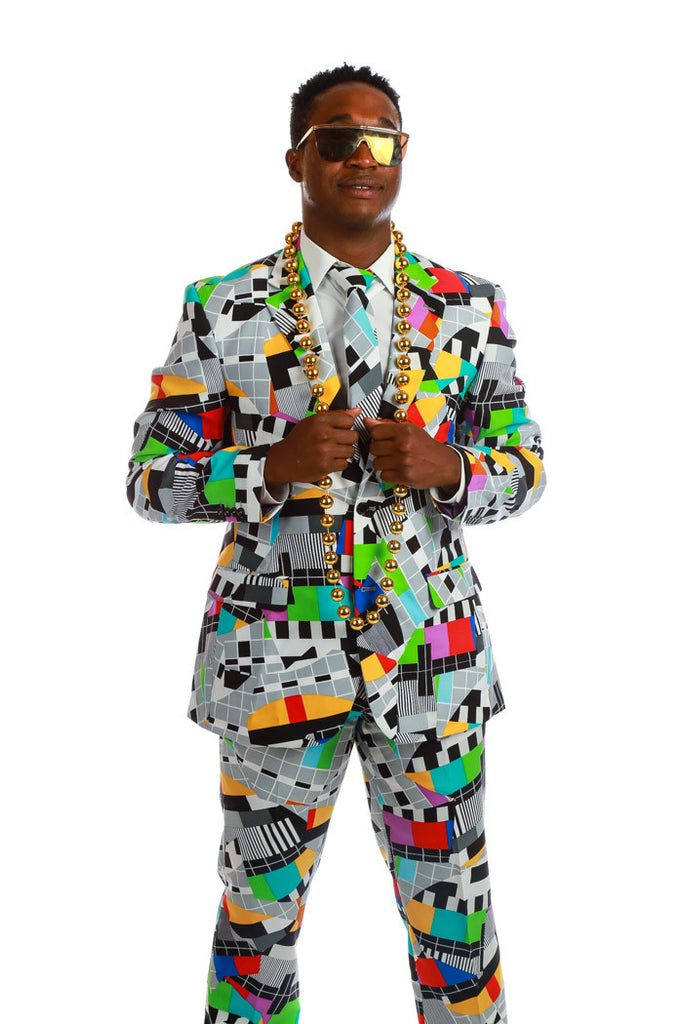 Retro Crazy 80s Print Suit Jacket and Pants