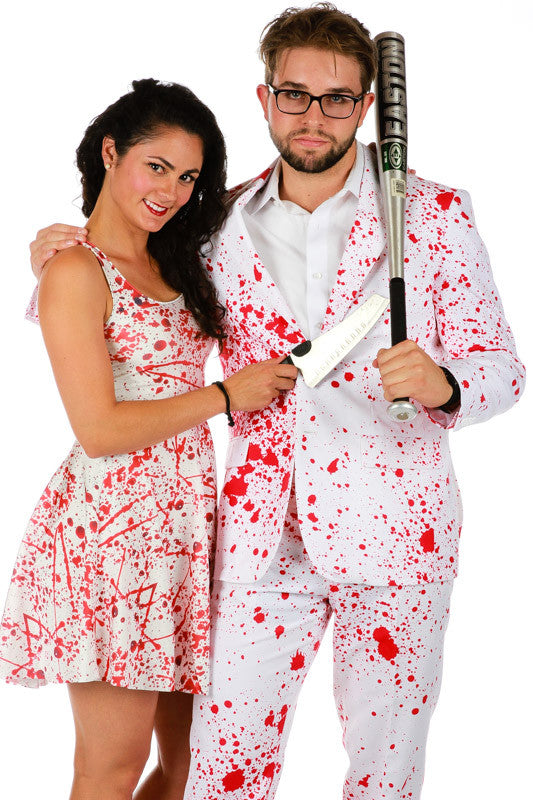 Couples Halloween Dress and Suit Blood Splatter