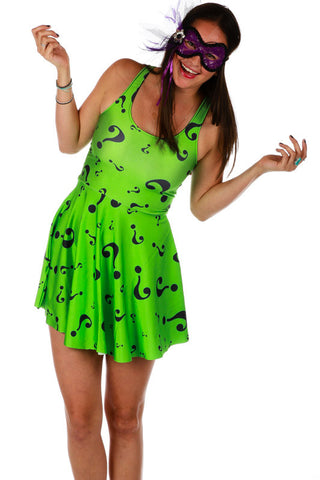 The Riddle Me This Reversible Neckline Skater Dress - Shinesty