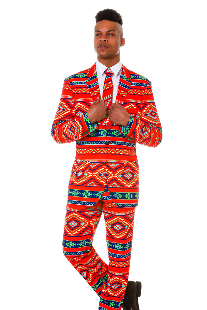 Mens Aztec Design Party Suit