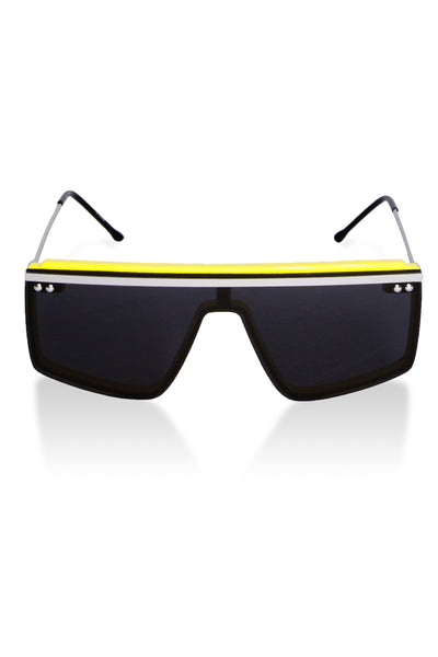 yellow and silver sunglasses with black lens