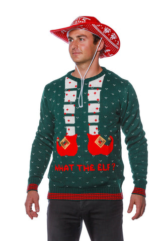 Playing Elf Footsies Ugly Christmas Sweater - Shinesty