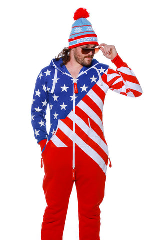 Pre-Order - Merica Vibes Adult American Flag Onesie Pajamas by Shinesty - Delivery by Mid December 2016 - Shinesty