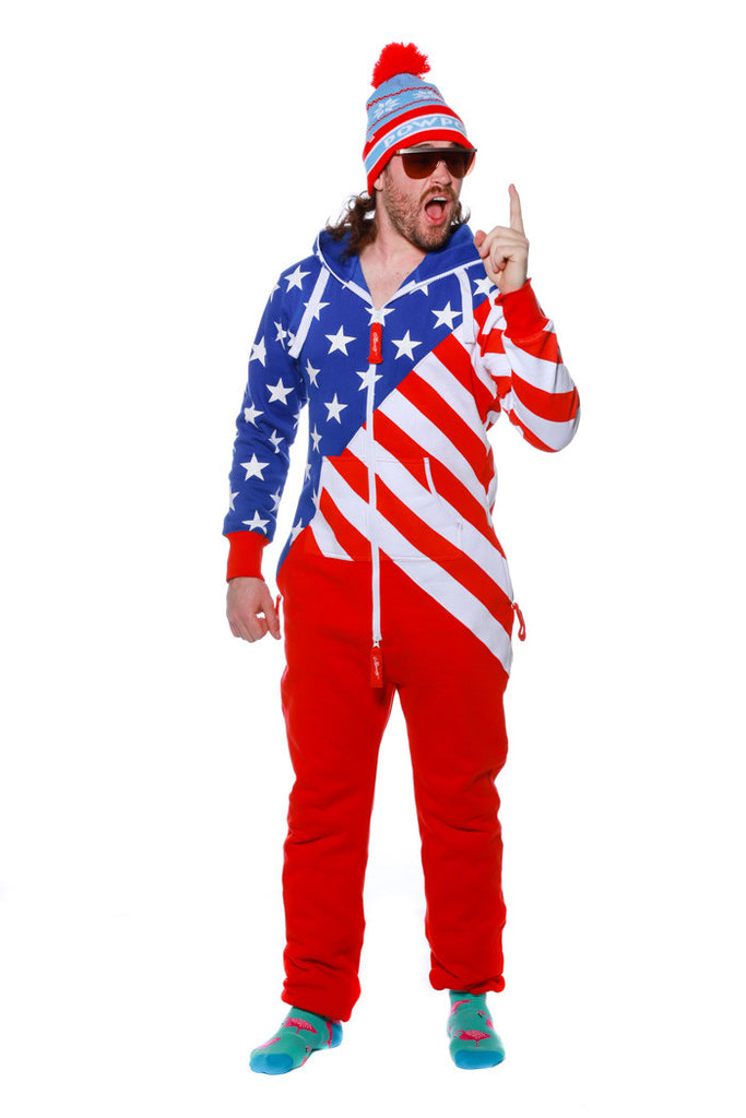 The State Of The Unions Men's Adult American Flag Onesie Pajamas by Shinesty