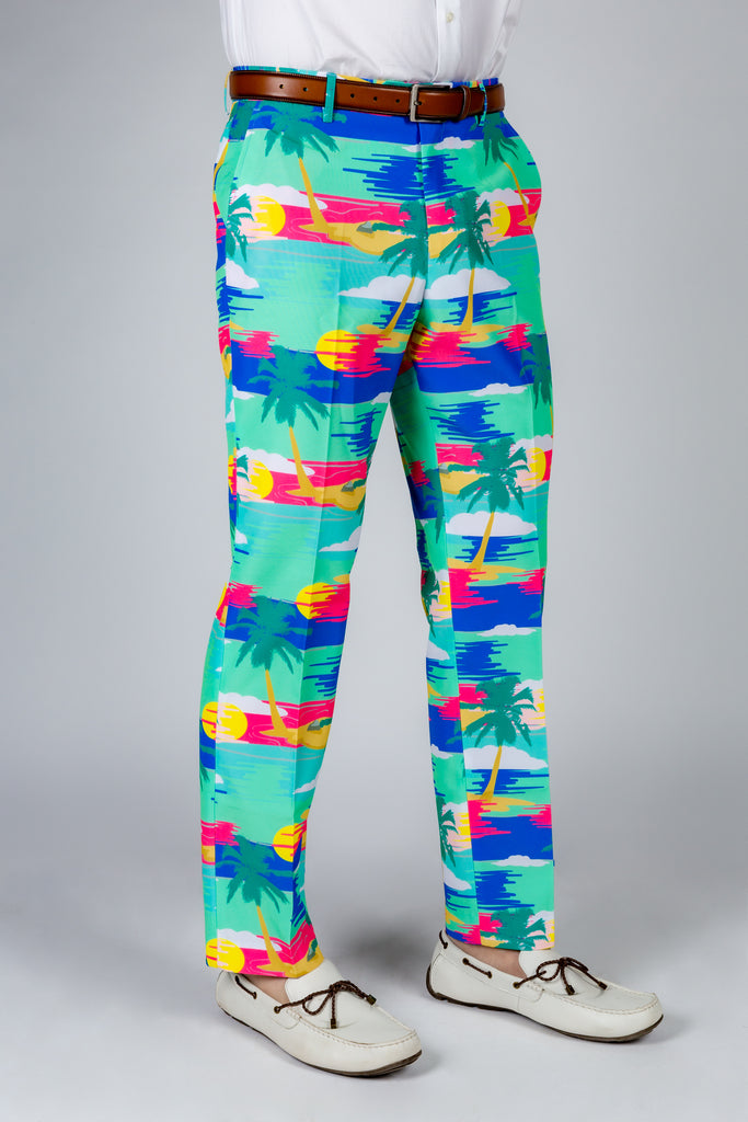 The Island In The Sun | Teal Abstract Tropical Island Pants