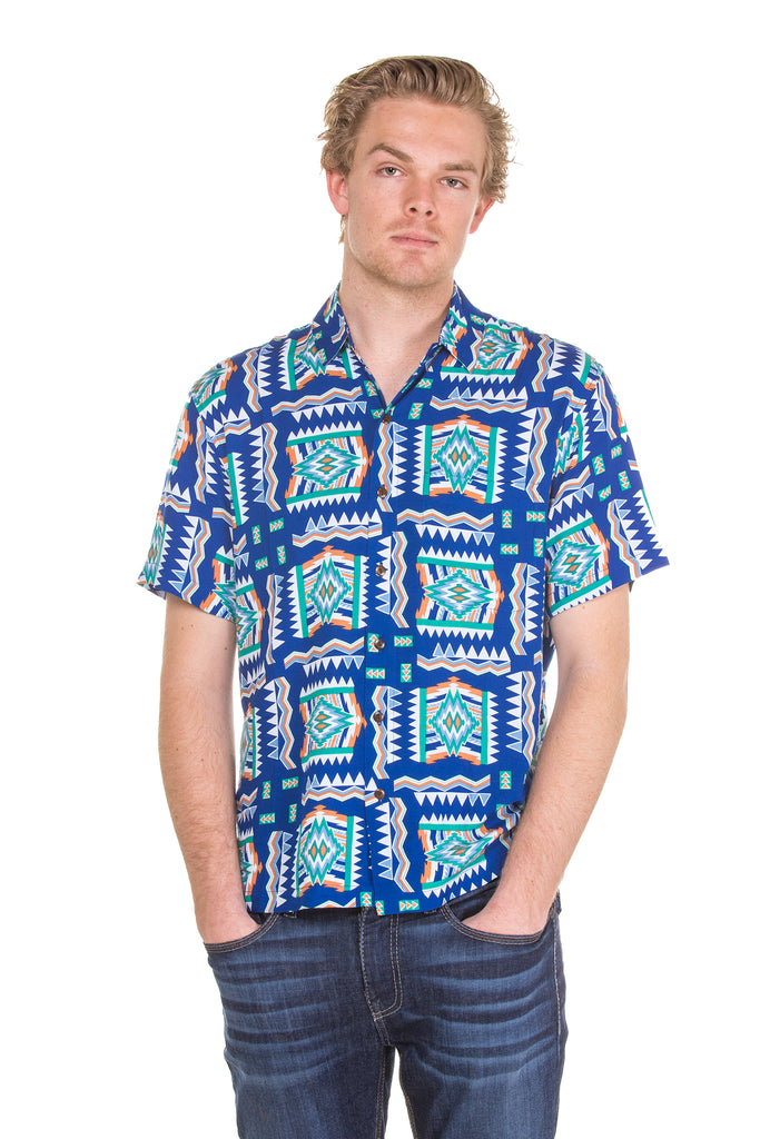 The Baja Blast | Blue Baja Printed Hawaiian Shirt