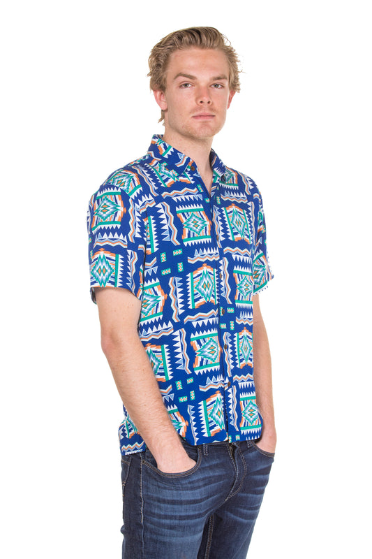 Mens blue floral print button up