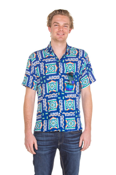 Blue baja printed Hawaiian shirt