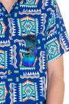 Mens blue hawaiian print button up shirt