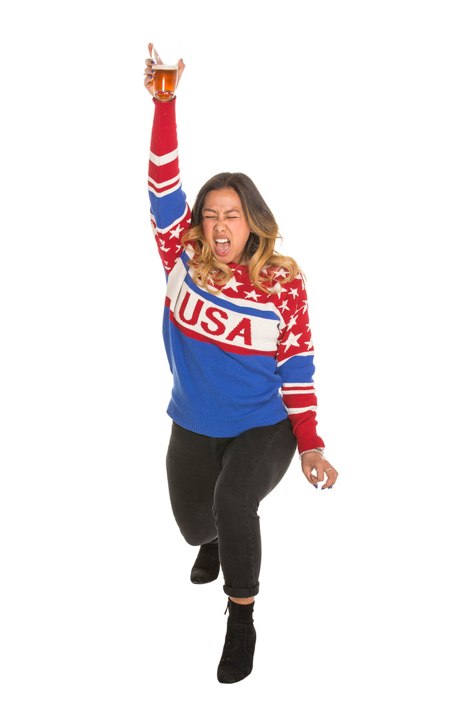 Ladies Stars and Stripes Red White and Blue Sweater