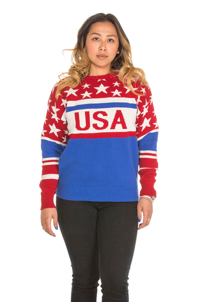 womens Vintage Red white and blue Sweater