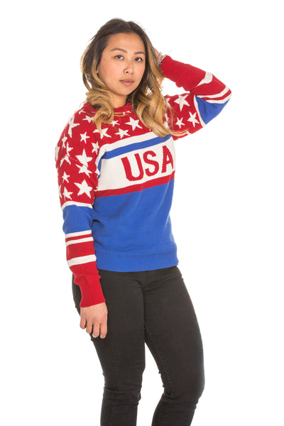 Patriotic USA sweater for women