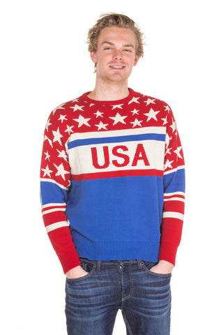Mens Patriotic USA Sweater