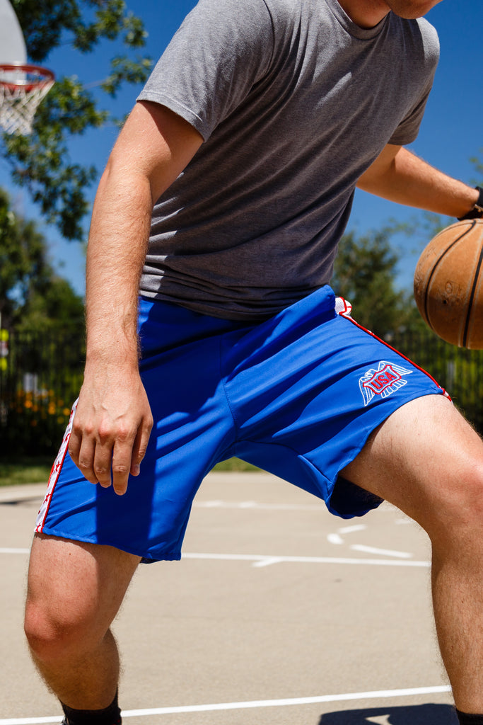 Kobe! | Blue USA Eagle Patch Athletic Shorts