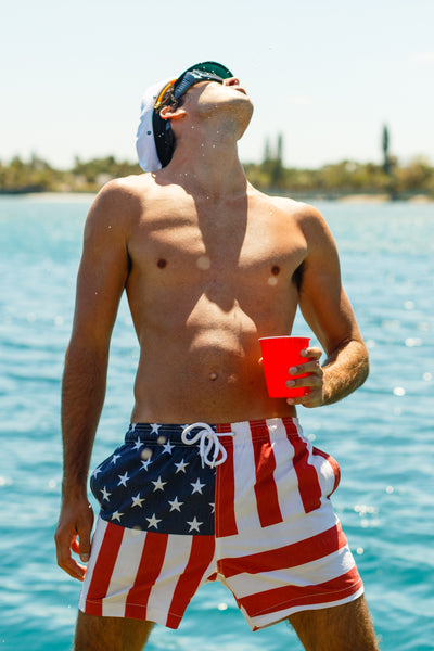 4d9877175f Red white and blue swim trunks. American flag swim trunks. American Flag  Swim Shorts