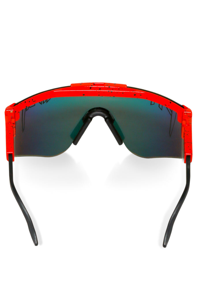 Ferrari Red Pit Viper Sunglasses with Rainbow Mirror Lens