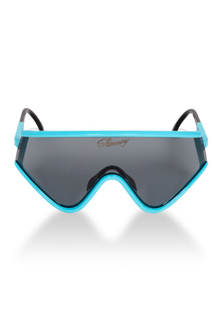 Teal and black 80's ski sunglasses