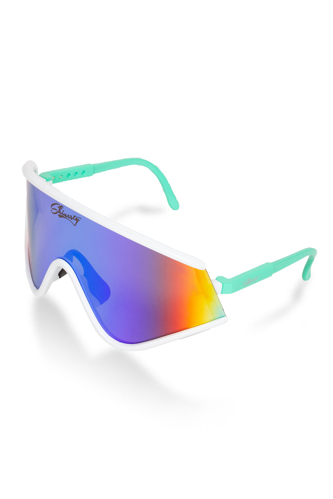 acdad48924 White   Teal Mirrored 80s Ski Sunglasses