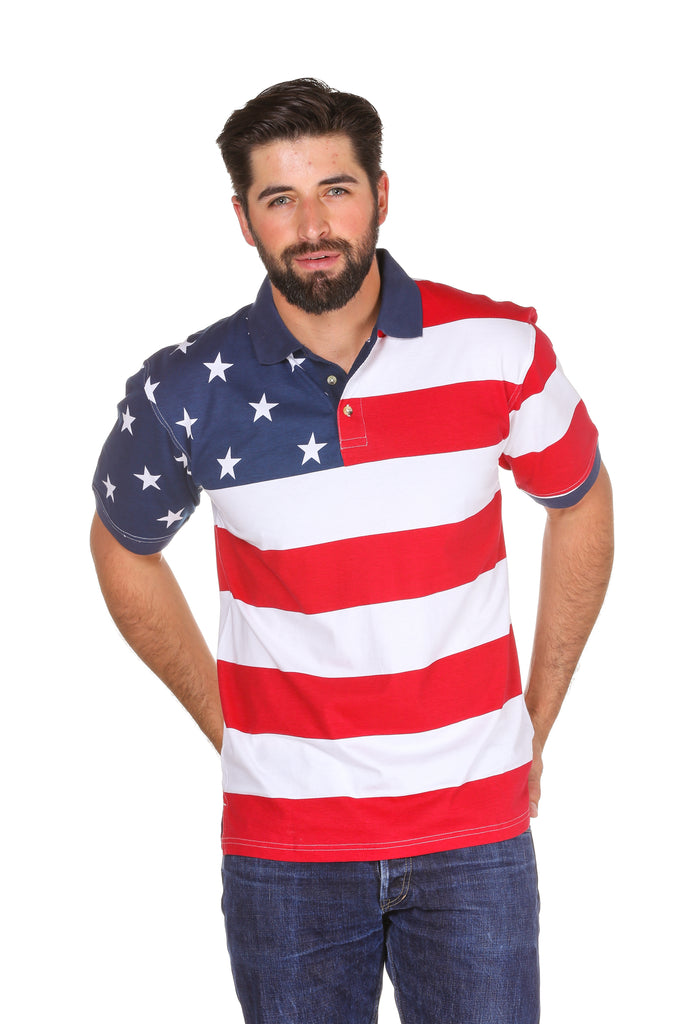 The Freedom Flexer Men's Patriotic American Flag Polo Shirt