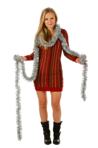 Holly Berry Ugly Christmas Sweater Dress - Shinesty